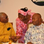 FROM R L- GOV. GODSWILL AKPABIO WITH WIFE MRS EKAETTE UNOMA AKAPBIO AND PASTOR AYO ORITSEJAFOR DURING A BANQUET IN GOVT HOUSE, UYO