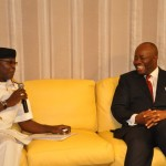 GOV. GODSWILL AKAPABIO AND REAR ADMIRAL I. U OGBOLE DURING A COURTESY CALL IN GOVT. HOUSE, UYO