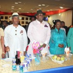 Bayelsa State Governor, Hon. Seriake Dickson (centre) his wife, Rachael (2ndright) the Deputy Governor, Rear Admiral Gboribiogha John Jonah (2ndleft) his wife, Seleipre (left) and the 1st civilian Governor of the State, Chief Diepreye Alamieyeseigha (right)during a State dinner/gala night organised as part of activities to mark the one year anniversary of the Hon.Seriake Dickson led administration in Yenagoa