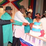 L-R: Former PDP National Chairman, Chief Okwesileze Nwodo, Ist Civilian Governor Of Bayelsa State, Chief Diepreye Alamieyeseigha, The State Governor, Hon. Seriake Dickson, His Wife, Rachael, And The State Deputy Governor, Rear Admiral Gboribiogha John Jonah Rtd, Jointly Cutting The One Year Anniversary Cake Of The Present Administration During A State Dinner/Gala In Yenagoa.