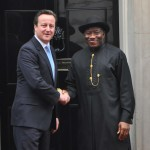 BRITISH PRIME MINISTER, MR DAVID CAMEROON (L) WELCOMING PRESIDENT GOODLUCK JONATHAN TO NO. 10 DAWNING STREET IN LONDON