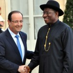 FRENCH PRESIDENT, MR FRANCOIS HOLLANDE (L) WELCOMING PRESIDENT GOODLUCK JONATHAN TO ELYSEES PALACE IN PARIS