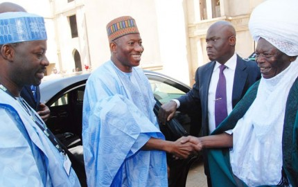 Emir Of Gombe, Alhaji Shehu Abubakar (R) Welcoming President Goodluck Jonathan To His Palace On Tuesday (3/12/13) In Gombe. With Thm Is Gov.  Ibrahim Dankwambo Of Gome State.