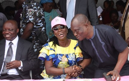 Governor Emmanuel Uduaghan of Delta State , Deaconess (Mrs) Roli Uduaghan, wife of the Governor and Comrade Ovuozourie Macaulay Secretary to the State Government during Breast Cancer screnning Program, in Asaba, yesterday. .