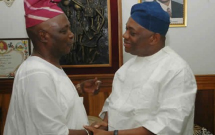Senator Rashidi Ladoja, Former governor of Oyo State and his Abia State counterpart/ Chairman of The Sun Publishing Limited, Dr. Orji Uzor Kalu during Ladoja's visit to Kalu in Lagos