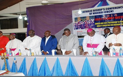 President Goodluck Jonathan 3rd right  Senate President David Mark and other Bishop Oserving a One Munitie Silence in Honour of Students Kill in Yobe State Recenly at the 2014  Catholic Bishop's Conference of Nigeria Opening Section at the Our Lady Pro. Cathedral  Garki Abuja on Sunday 9thMarch 2014 S