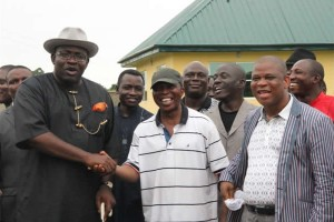Governor Seriake Dickson of Bayelsa State (L), felicitating with the Bishop of the Niger Delta West Diocese (Anglican Communion), Most Rev. Emmanuel Oko-Jaja (R), while the Special Adviser to the Bayelsa State Governor on Religious Matters, Pastor S.S John Peters (M), looks on with delight, during an Easter Cantata, at the Toru-Orua Christian Centre, in Sagbama LGA.