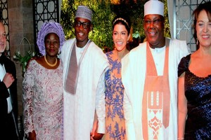 Chieftain of All Progressives Congress (APC) and former Vice President Atiku Abubakar (r) introducing the parents of his son's new wife Mrs Margarita, (1st r) and Mr Nadim Saleby to  Chief Bisi Akande, Interim National Chairman of  APC at the wedding  reception of Atiku's son, Abubakar A. Abubakar and his bride Mariana Nadim in Dubai, UAE over the weekend.*