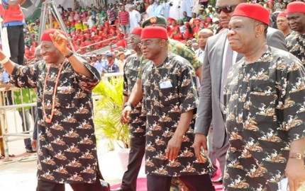 L  -   R    PRESIDENT  GOODLUCK  JONATHAN;  SENATE  PRESIDENT;  DAVID  MARK  AND  MINISTER  OF  POWER; PROF. CHINEDU  NEBO; DURING  THE SOUTH  EAST  PDP  RALLY IN  ENUGU  ON  FRIDAY  11 /  04  /  14.