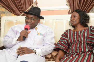 Governor Henry Seriake Dickson (L), expressing words of sympathy to Mrs Oronto Douglas(R), when the Governor paid a condolence visit to the Oronto family in Abuja.