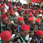 PIC 5. TRADITIONAL RED CAP CHIEFS  AT THE 2011 WORLD IGBO DAY CELEBRATION IN ABAKALIKI.