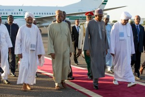 India 4: President Buhari with Presidential Assistant to Sudanese President Dr. Galal Dignar and Nigerian Ambassador to Sudan Mr Haliru S. Shuaibu during a technical stop-over at the Khartoum International Airport Sudan as President Buhari departs New Delhi India for Nigeria after a 4 day official visit to New Delhi India to attend the 3rd India-Africa Forum Summit on 30th Oct 2015