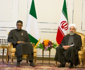 Tehran 2: President Buhari with the President of the Islamic Republic of Iran H.E. Hassan Rouhani during a bilateral meeting at his office after the 3rd Summit of Gas Exporting Countries Forum in Tehran Iran on 24th Nov 2015