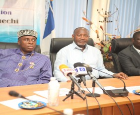 From left: Minister of Transportation, Hon. Rotimi Amaechi; Minister of State for Aviation, Senator Hadi Sirika; and Acting Director General of the Nigerian Maritime Administration and Safety Agency (NIMASA), Mr. Haruna Baba Jauro, during visit to NIMASA headquarters in Apapa, Lagos by the Ministerial delegation … on Monday