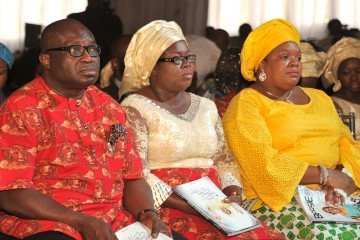 Abia state Governor, Dr. Okezie Ikpeazu, his wife Deacones Nkechi Ikpeazu and Dame Nkechi Okorocha wife of Imo state governor  * *during the funeral service of Late Deaconess Bessie Ikpeazu mother of Gov. Okezie Ikpeazu of Abia state at Seventh-day Adventist Church,Umuobiakwa in Obingwa LGA.  Photo Ibeabuchi Abarikwu*