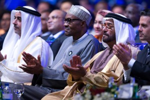 President Buhari with UAE Minister of Environment and Water resources H.E. Dr Rashid Ahmed Mohammed Bin Fahad and President of the United Mexican States H.E. Enrique Pena Nieto as President Buhari participates at the Official Opening Ceremony of the Abu Dhabi Sustainability Week at the ADNEC Centre on 18th Jan 2016