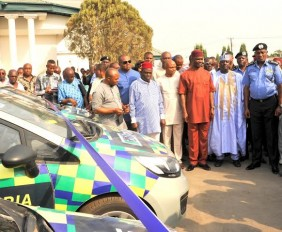 *Pix 8015 and 8019,  R-L  Gov. Okezie Ikpeazu of Abia state, IGP Solomon Arase, Hon. Garuba, Member House of Reps committee on Police affairs, Rt. Hon. Ude Oko Chukwu, Deputy governor of Abia state, Rt. Hon. Martins Azubike, Speaker, Abia state House of Assembly and others during the official presentation of Patrol vehicles to the IGP by Gov. Ikpeazu in Umuahia.   Photo Ibeabuchi Abarikwu*