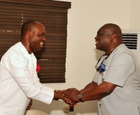 *Pix 0072, Abia state Governor, Dr. Okezie Ikpeazu receiving the the Former CBN Governor, Prof. Charles Soludo to his office when he (Prof. Soludo) visited him in Umuahia.   Photo Ibeabuchi Abarikwu*