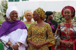 FIRST LADY HOSTS DIPLOMAT'S WIVES 3. L-R; Wife of the President Aisha Muhammadu Buhari,  wife of the Vice President Dolapo Yemi Osinbajo and wife of the President of the Senate, Dr Toyin Bukola Saraki during a reception for the wives of diplomats at the presidential villa in Abuja. PHOTO; SUNDAY AGHAEZE/STATE HOUSE. MARCH 12 2016