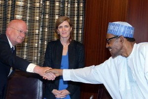 PRESIDENT BUHARI RECEIVES US PERM REP TO UN 1A&B. R-L; President Muhammadu Buhari, US Permanent Representatives to the United Nations, Ambassador Samantha Power, US Ambassador to Nigeria, Mr James Entwistle during an audience with US Permanent Representative to the United Nations, and Ambassador Bruce Wharton at the State House in Abuja. PHOTO; SUNDAY AGHAEZE. APR 21 2016