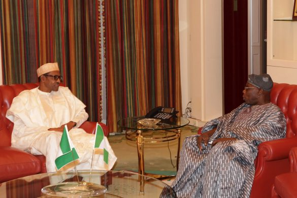 PRESIDENT BUHARI RECEIVES FMR PRESIDENT OBASANJO 0A. President Muhammadu Buhari and Former President Olusegun Obasanjo during an audience at the State House in Abuja PHOTO; SUNDAY AGHAEZE. APR 7 2016