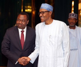 PRESIDENT RECEIVES ICAO. 3A.;  President Muhammadu Buhari in a handshake with the President of ICAO, Dr Bernard Aliu after a meeting with the International Civil Aviation Organisation (ICAO) at the State House in Abuja PHOTO; SUNDAY AGHAEZE/ STATE HOUSE. APR 4 2016