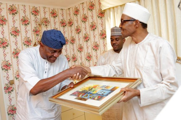 PRESIDENT BUHARI RAMADAN BREAKING OF FAST WITH SERVICE CHIEFS 2A&B. President Muhammadu Buhari presenting a parting gift to the out going Inspector General of Police, Mr Solomon Arase after  Ramadan Breaking of fast with Service Chief/Farewell Dinner for the outgoing Inspector General of Police at the President Residence in Abuja. PHOTO; SUNDAY AGHAEZE/STATE HOUSE. JUNE 20 2016.