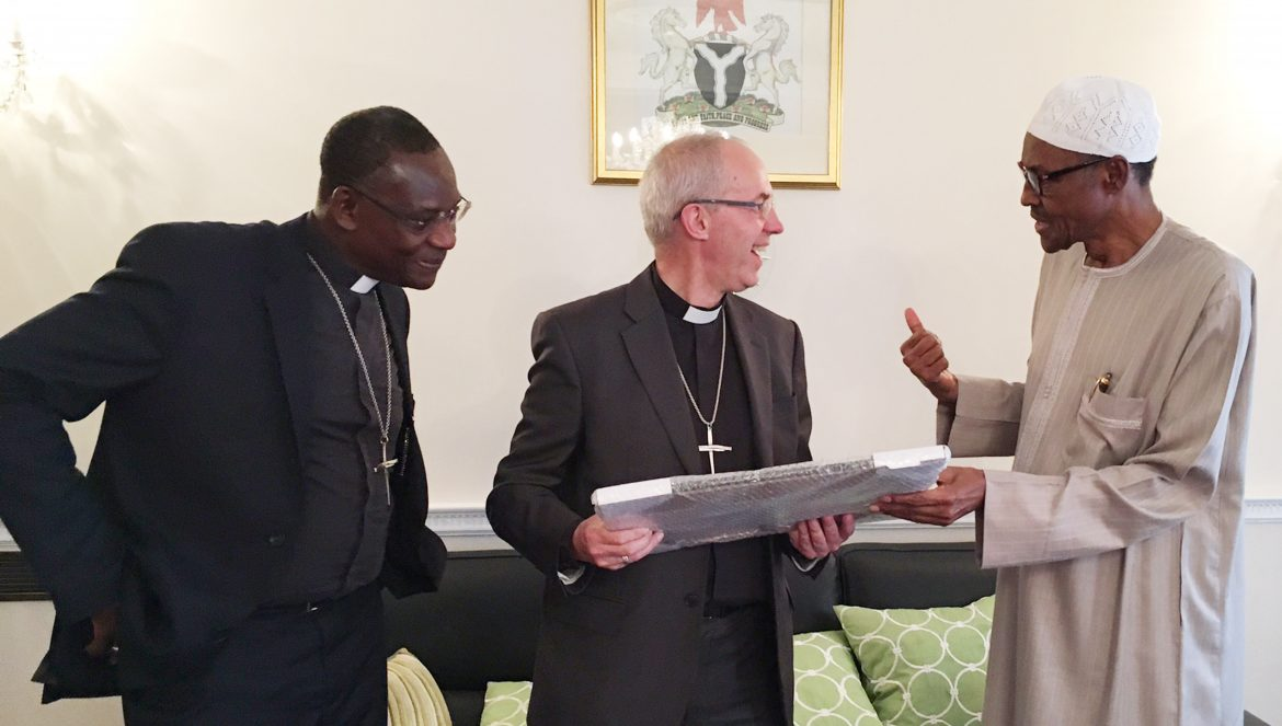 PRESIDENT BUHARI RECEIVES ARCH OF CANTERBURY. 2. R-L; President Muhammadu Buhari with the Archbishop of Canterbury, Justin Welby and Secretary General of the Anglican Communion Worldwide, Most Reverend Josiah Idowu Fearon at the official residence of the Nigerian High Commissioner to Britain in London Monday June 13 2016.