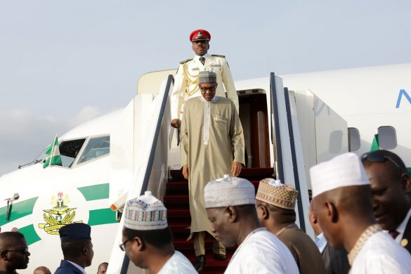 PRESIDENT BUHARI RETURNED FROM VACATION. AA. President Muhammadu Buhari returned after 10 days vacation in the UK, landed at the Nnamdi Azikwe International Airport in Abuja. PHOTO; SUNDAY AGHAEZE/STATE HOUSE. JUNE 19 2016.