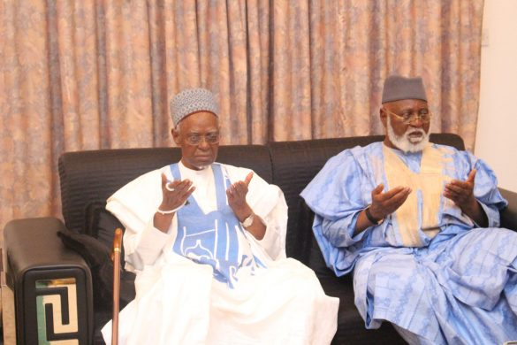 Former President, Alhaji Shehu Shagari with former Head of State, Gen Abdulsalami Abubakari, when the latter visted Shagari at his residence in Sokoto...Sunday 10/07/2016