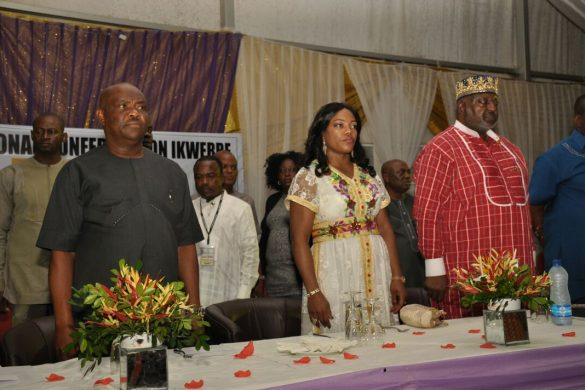 L-R : Rivers State Governor, Nyesom Ezenwo Wike, Wife of the Rivers State Governor, Justice Eberechi Suzzette Nyesom-Wike and Former President of the NBA, Chief OCJ Okocha at a dinner/fund raising  organised by the Ogbakor Ikwerre USA and Canada to mark the end of its  International Conference on Ikwerre in Port Harcourt on Saturday.