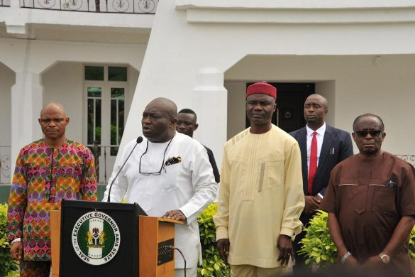 Abia state Governor, Dr. Okezie Ikpeazu addressing Newsmen in Umuahia after his victory at the Appeal Court. With him from L-R are Rt. Hon. Matins Azubuike, Speaker, Abia State House f Assembly, Sir Ude Oko Chukwu, D/gov. and Dr. Eme Okoro, SSG.      Photo Government House Press