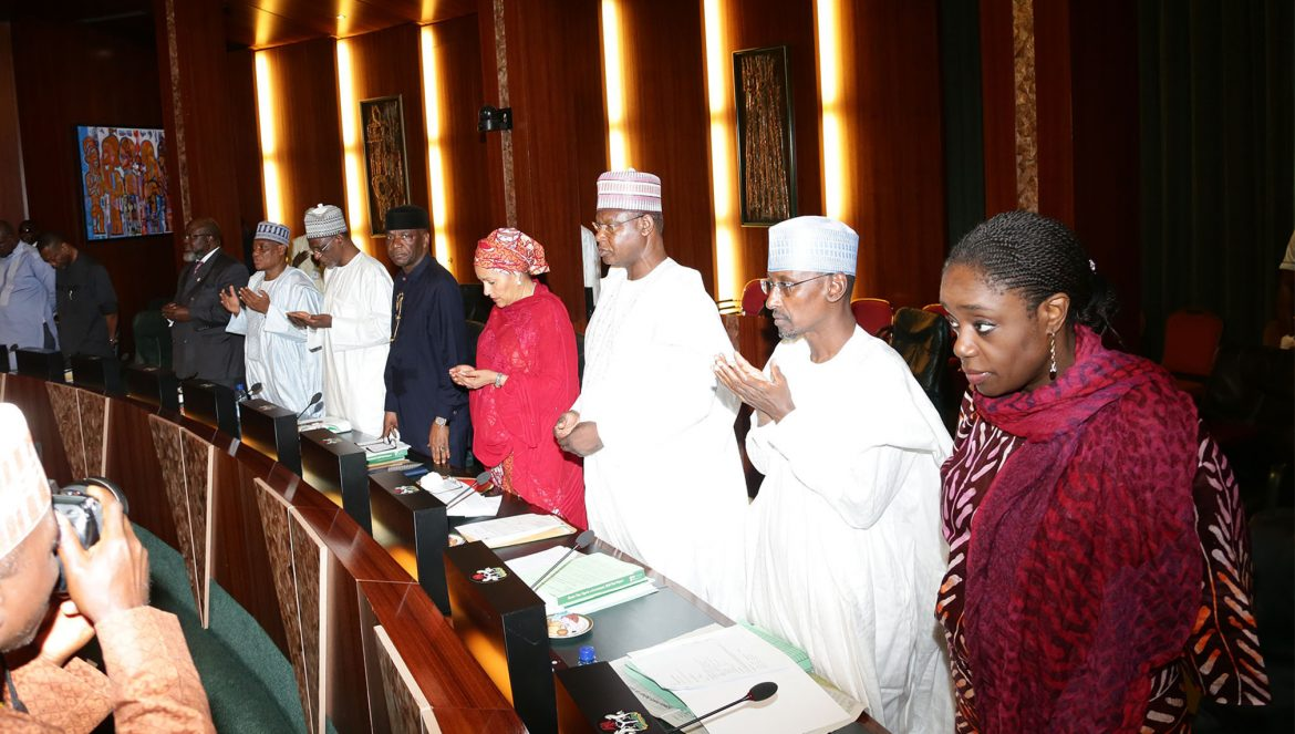 PRESIDENT BUHARI PRESIDES OVER AUG 24 2016 FEC. 6. Cross Sections of Ministers; R-L;  Minister of Finance, Mrs Kemi Adeosun, Minister of FCT, Alhaji Mohaaed Musa Bello, Minister of State, Environment, Alhaji Ibrahim Usman Jibril, Minister of Environment, Hajiya Amina Mohammed and others as President Muhammadu Buhari presides over August 24 2016 Federal Executive Council Meeting at the State House in Abuja. PHOTO; SUNDAY AGHAEZE. AUGGUST 24 2016.