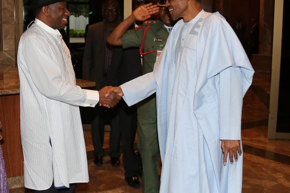 PRESIDENT BUHARI RECEIVES FMR PRESIDENT JONATHAN. 4A&B. after the Close door Meeting. President Muhammadu Buhari bids farewell to the former President Dr Goodluck Ebele Jonathan at the State House in Abuja. PHOTO; SUNDAY AGHAEZE/STATE HOUSE AUGUST 3 2016