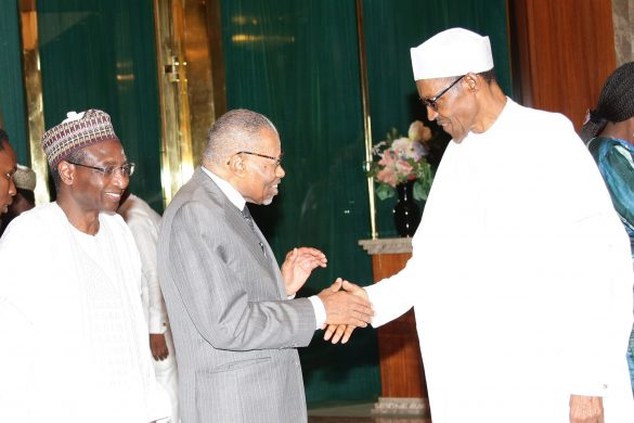 PRESIDENT BUHARI RECEIVES ISLAMIC DEV BANK GROUP 6. R-L; President Muhammadu Buhari, President of the Islamic Development Bank Group, Dr A.M Ali-Madani, Vice President of the Bank, Dr Mansur Muhtar during an audience with President of the Islamic Development Bank Group at the State House in Abuja. PHOTO; SUNDAY AGHAEZE. AUGUST 22 2016