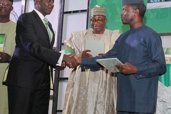 Vice President Prof. Yemi Osinbajo SAN GCON in a handshake with M. A. Abubakar Esq. Executive Governor of Bauchi State and Maj-Gen Babagana M. Monguno (Rtd) National Security Adviser to the President at the Official Launch of the Reviewed National Counter Terrorism Strategy (NACTEST) 23rd August 2016 Transcorp Hilton Hotel, Abuja