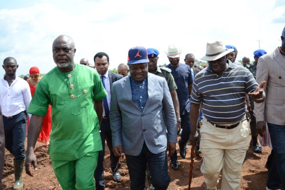 Governor David Umahi of Ebonyi State(middle); former Military Administrator of the state, Walter Feghabo (right);  and  Commissioner for Lands, Housing and Survey, Sunday Inyima (left)  at the foundation laying of the new Ebonyi State Government House at the Centennary City in Abakaliki on Thursday.