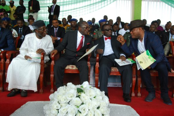 Ebonyi State Governor, Engr. David Umahi (2nd left); Minister of Agriculture and Rural Development, Chief Audu Ogbeh (left); Minister of Health, Prof. Issac Adewole (3rd left); and Deputy Governor Kelechi Igwe, at the Final Signing of Peace Agreement between Ezillo and Ezza- Ezillo people  at  the Abakaliki Township Stadium on... Monday