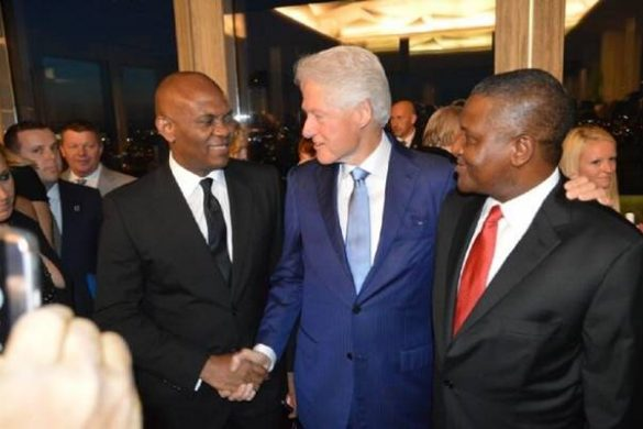 Mr. Tony Elumelu, Chairman United Bank for Africa (UBA Plc) and Heirs Holdings, a former President of the United States, Bill Clinton; and President, Dangote Group, Alhaji  Aliko Dangote Celebrating with former US President Bill Clinton at his 70th birthday at the Rockefeller Plaza, New York at the weekend.