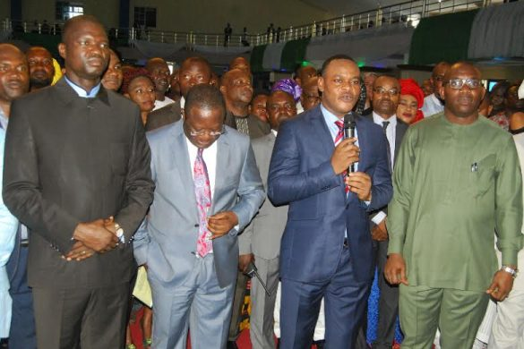 R-L: Ebonyi State Governor David Umahi; Deputy Governor Kelechi Igwe; Chief Judge of Ebonyi State, Justice Alloy Nwankwo and wife, Lilian,at the Special Thanksgiving Service to mark the end of the 3- day fasting and prayer at Christ Embassy Church, Abakaliki on Sunday
