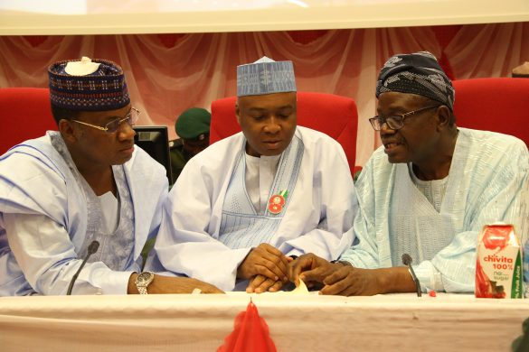 Senate President, Dr. Abubakar Bukola Saraki (Center), with Chairman Senate Committee on Downstream Petroleum, Senator Kabiru Marafa (Left), and Chairman Senate Committee on Upstream Petroleum, Senator Donald Omotayo Alasoadura at the Senate Public Hearing on the The Petroleum Industry Bill (PIB).