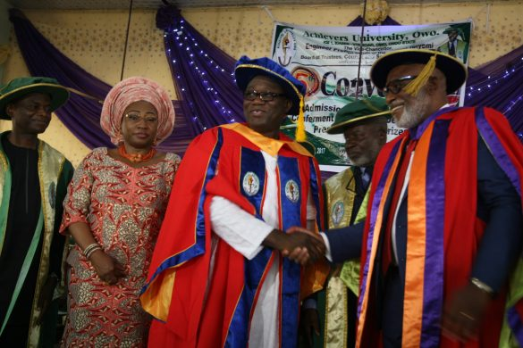Pro -Chancellor/Chairman Governing Council, Achievers University, Dr Bode Ayorinde; Wife of the honouree, Erelu Bisi Fayemi; Minister of Mines and Steel Development/honorary doctorate degree awardee, Dr Kayode Fayemi; Chancellor, Achievers University, Dr Bode Olajumoke; and Ondo State Governor, Mr Rotimi Akeredolu; during the conferment of honourary Doctor of Science in Public Administration on Fayemi at the fifth convocation ceremony of Achievers University Owo, Ondo State…on Saturday