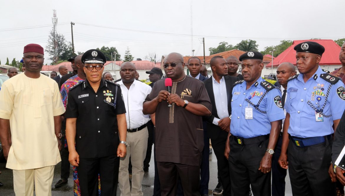L-R   Sir Ude Okochukwu, D/gov Abia State; DIG Valentine Ntomchukwu; Gov. Okezie Ikpeazu of Abia state; AIG Zone 9, Hosea Karma and Leye Oyebade, Abia state Commissioner of Police during the presentation of some patrol vehicles and motorcycles by the governor  to the Abia state command of the Nigerian Police in Umuahia.